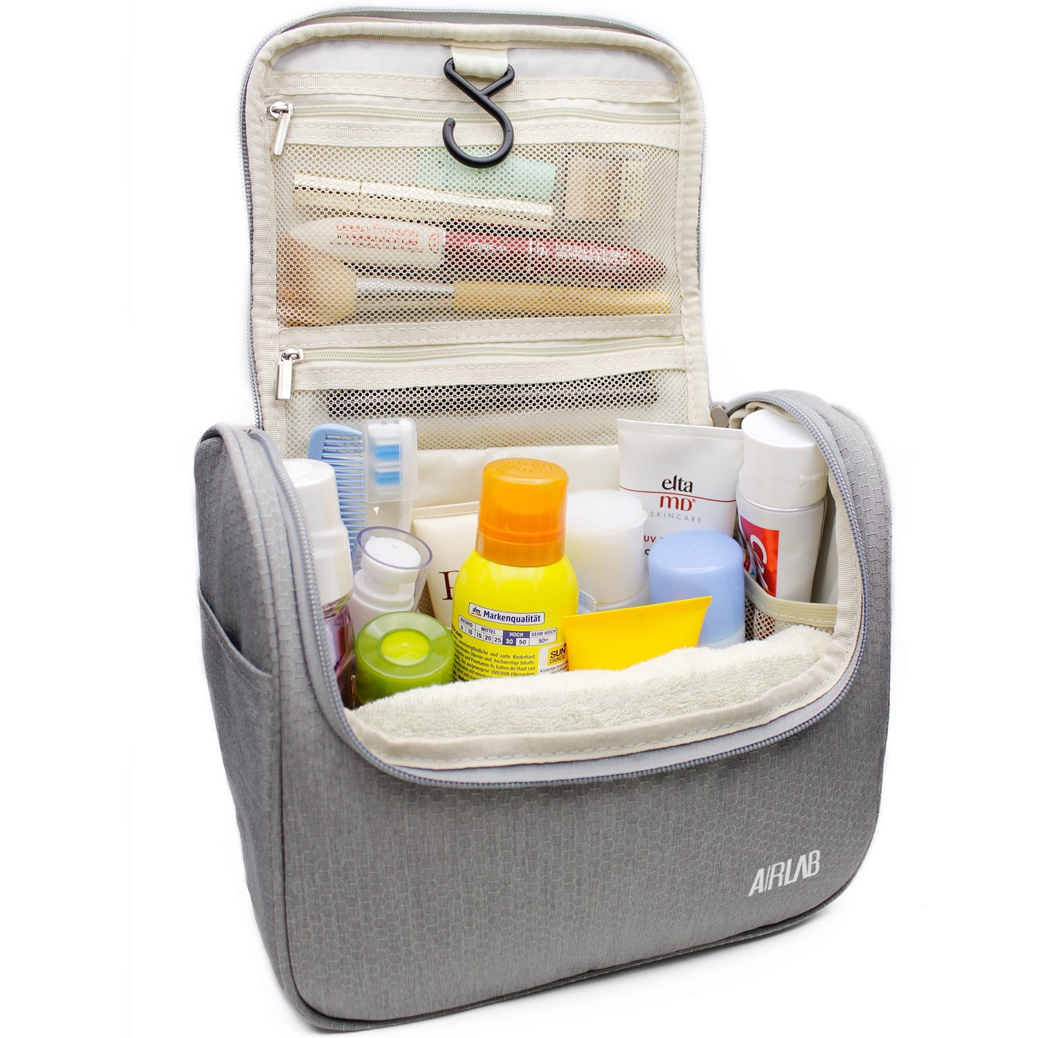 Hanging Toiletry Bag, Airlab Large Cosmetic Bag with Handle and Hook, Travel Toiletry Organizer for Men and Women, Size: 9.45 x 7.65 x 5 inch, Gray