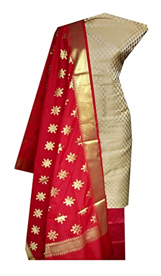 0954eaa53c Nakshatra Creations Multicolor_Banarasi Brocade Silk Fabric Unstitched  Dress Material of Salwar Suit for Women: Amazon.in: Clothing & Accessories