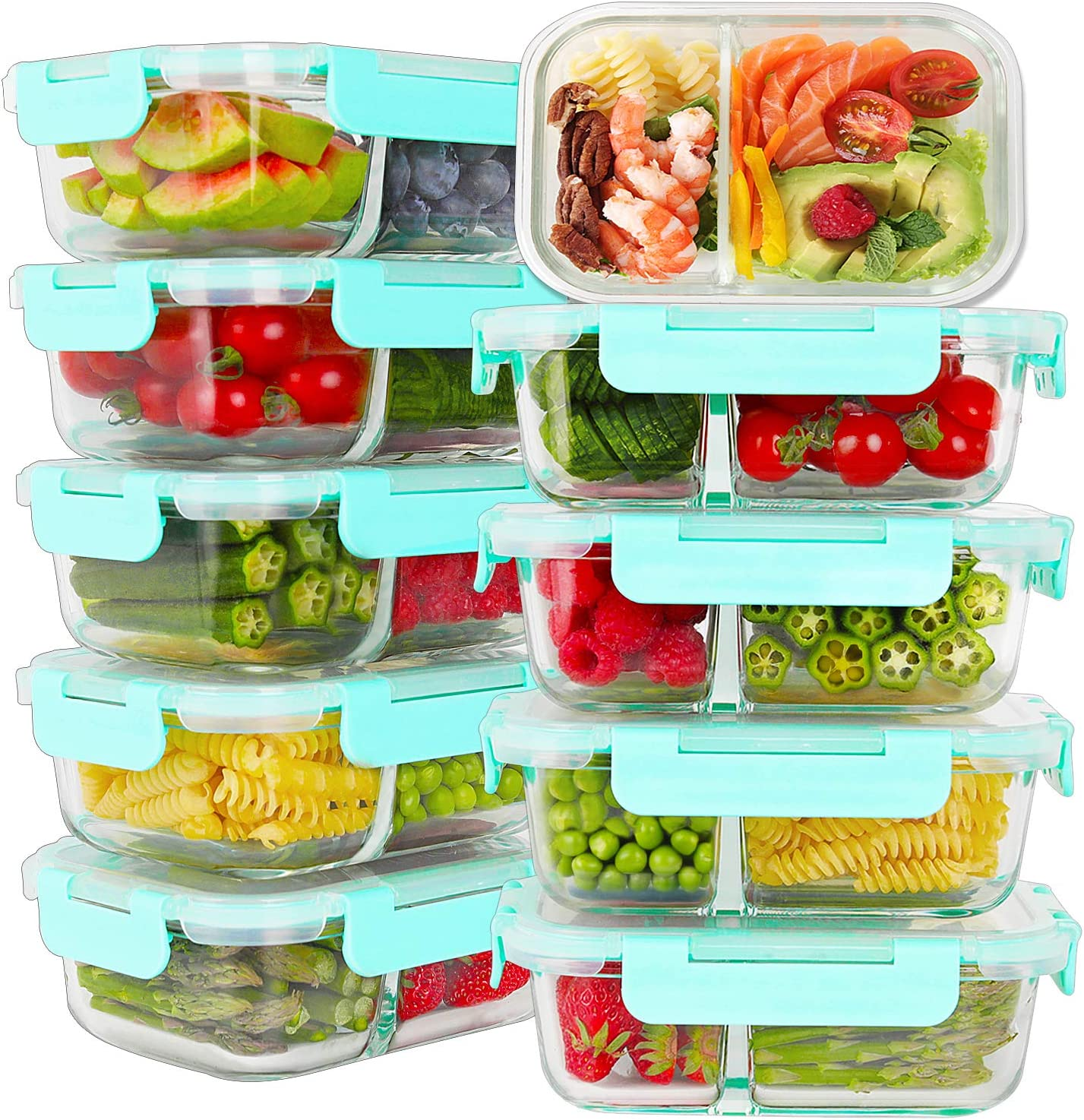 Bayco 10 Pack Glass Meal Prep Containers 2 Compartment, Glass Food Storage Containers with Lids, Airtight Glass Lunch Bento Boxes, BPA-Free & Leak Proof (10 lids & 10 Containers)