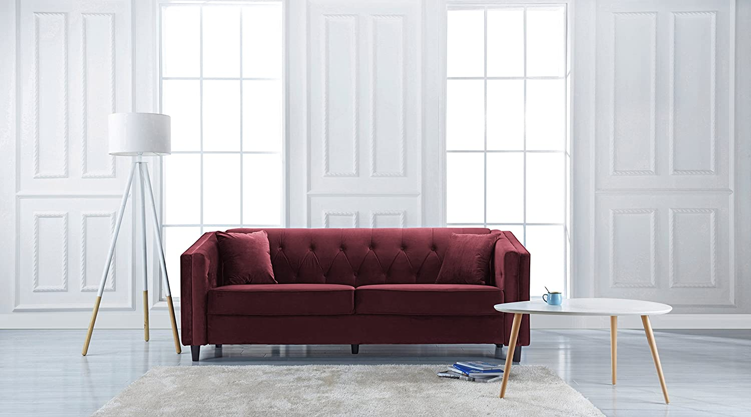 Amazon.com: Classic Victorian Style Tufted Velvet Sofa, Living Room ...