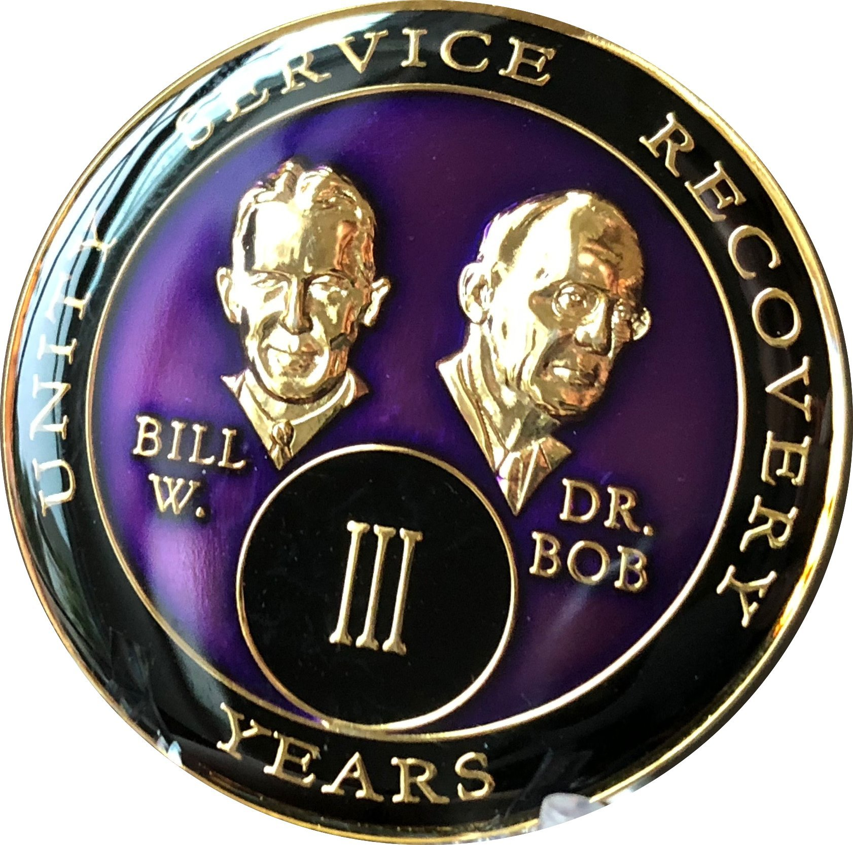 3 year AA Medallion Purple Tri-Plate Founders Bill & Bob Chip III