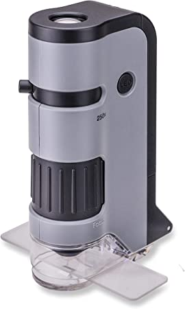 Carson MicroFlip 100x-250x LED and UV Lighted Pocket Microscope with Flip Down Slide Base and Smartphone Digiscoping Clip (MP-250 or MP-250MU)