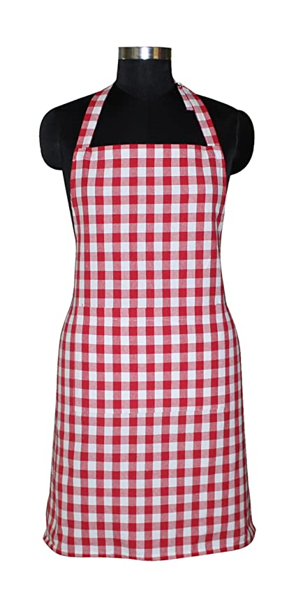 Airwill, 100% Cotton Yarn-Dyed Designer Checked Weave Aprons, Sized 65cm in Width & 80cm in Length with 1 Center Pocket, Adjustable Buckle on Top and 2 Long Ties On Both 2 Sides. Pack of 1 Piece.