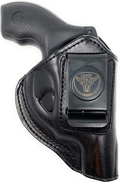 Cardini Leather USA -IWB Ultra Soft Leather Holster - for S&W Bodyguard 38 Special, M&P 340, Taurus 85 - and Other Snub Nose Revolvers - Inside The Waistband with Clip