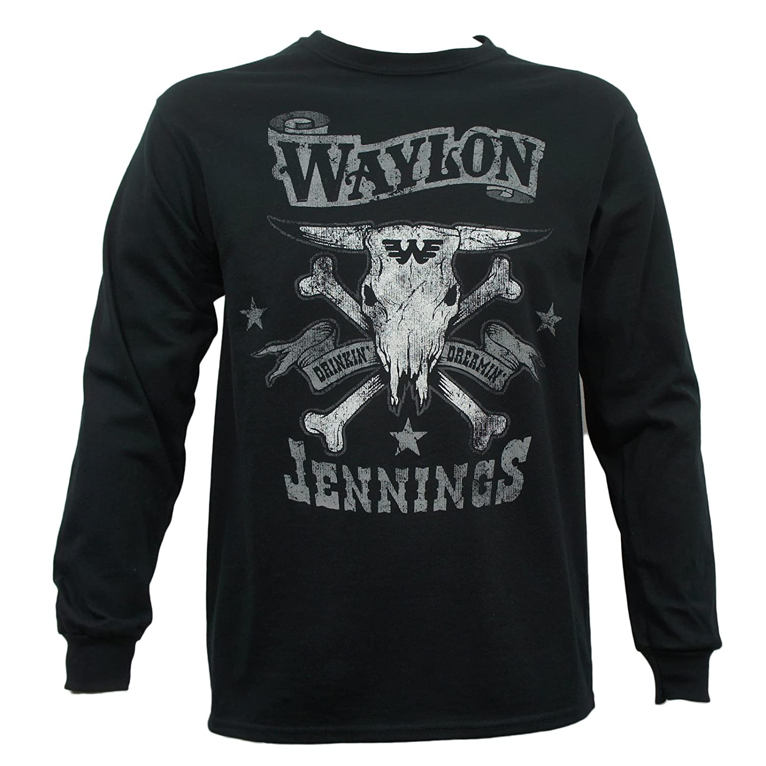 3e7b3195 Amazon.com: Waylon Jennings Men's Drinkin and Dreamin Long Sleeve T-Shirt:  Clothing