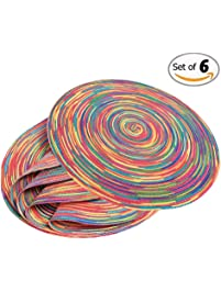 Round Table Placemats (6 Pack)   Wide 15 Inch Woven Braided And Modern  Colorful