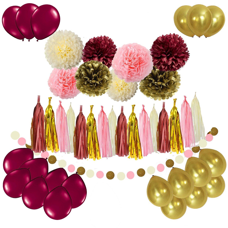 Sogorge Bridal Shower Decorations 49pcs Burgundy Pink Glitter Gold Birthday Decorations Tissue Paper Pom Pom Tassel Garland Photo Backdrop Wedding/Bachelorette Party Decorations by Sogorge (Image #1)