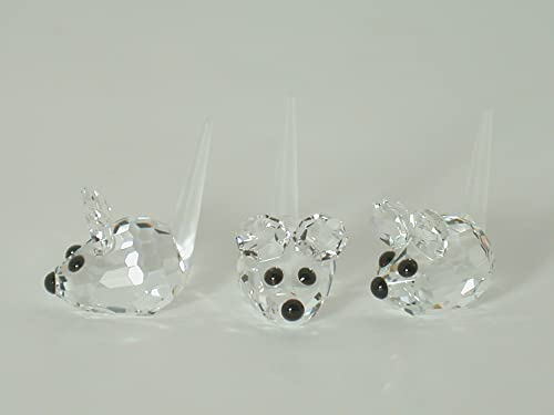 Authentic Swarovski Crystal Figurine Set of 3 Field Mice – Collectible No.181513 Retired Made in Austria
