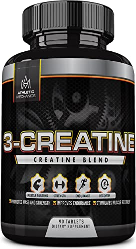Athletic Mechanics – 3-Creatine – Blend of Three Types of Creatine – Builds Muscles – Increases Strength – Enhances Recovery Endurance – Supports Protein Synthesis – 90 Tablets