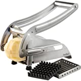 VonShef High Quality Stainless Steel Potato Chipper, 2 Year Free Warranty, 2 Interchangable Blades for Making Chips, French Fries and American Style Chips