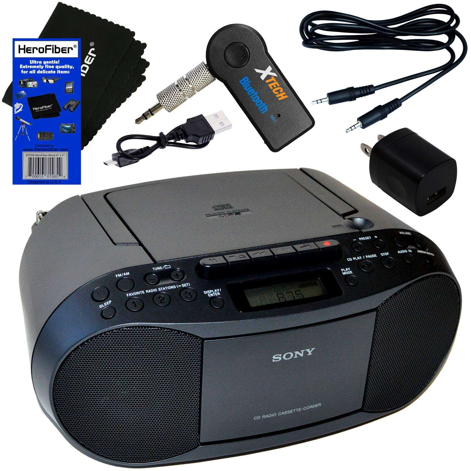 Sony Portable CD Player Boombox with AM/FM Radio & Cassette Tape Player + Wireless Bluetooth Receiver with Charger + Aux Cable for Smartphones, MP3 Players & HeroFiber Ultra Gentle Cleaning Cloth by HeroFiber