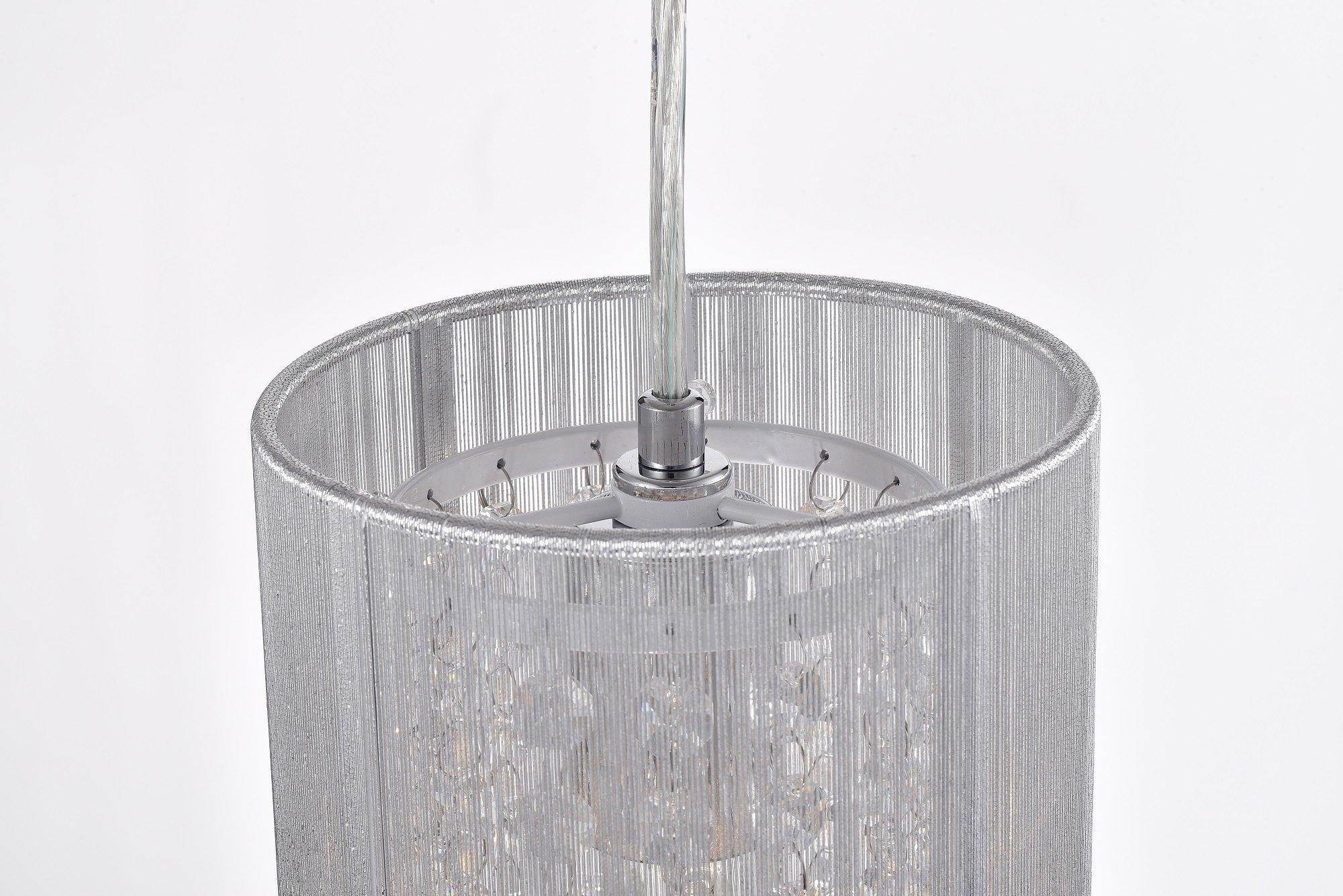 LaLuLa Pendant Lighting Mini Pendant Light Silver Drum Crystal Chandelier 1 Light by LaLuLa (Image #9)