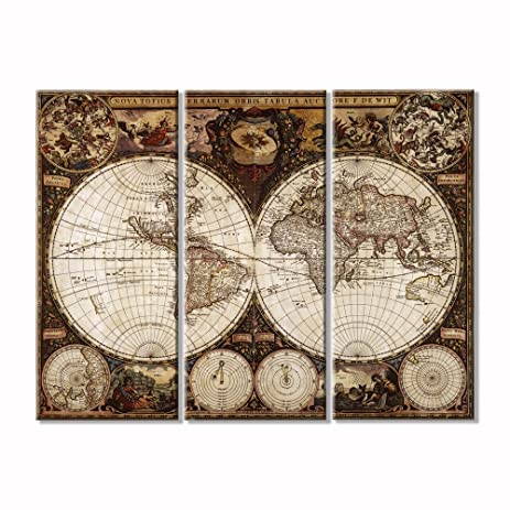 Amazon ancient roads world map wall art canvas prints art home ancient roads world map wall art canvas prints art home decor for living room modern pictures gumiabroncs Choice Image