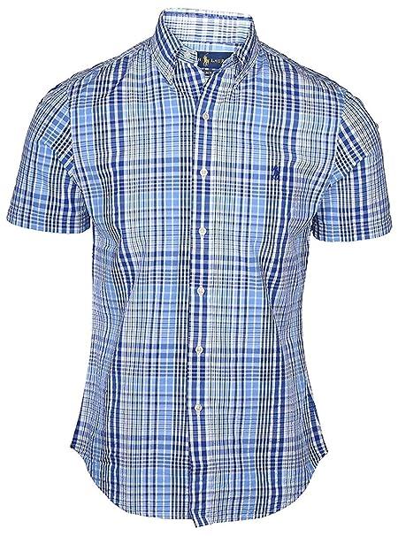 aedccc5e2 Polo Ralph Lauren Men s Short Sleeve Slim Fit Button-Down Seersucker Sport  Shirt (White