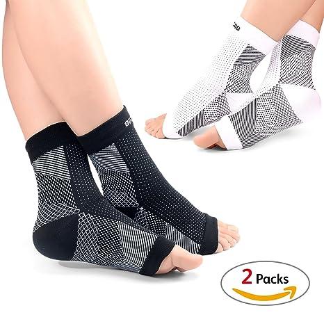 Hibucuoo Juego de 2 pares de calcetines de compresión para pie y tobillo, para hombre