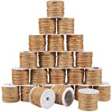 24-Roll Set of Jute Twine - Natural Twine Rope, Jute String, Twine String for DIY Crafts, Decoration, Embellishments, Brown -