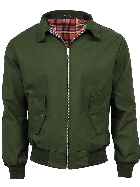 N/A Mens Classic Vintage Harrington Bomber Jacket | Tartan Lined