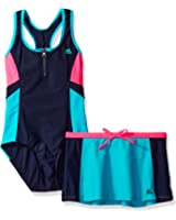 ZeroXposur Big Girls' Sandcastle 1pc Swimsuit W/ Skirt