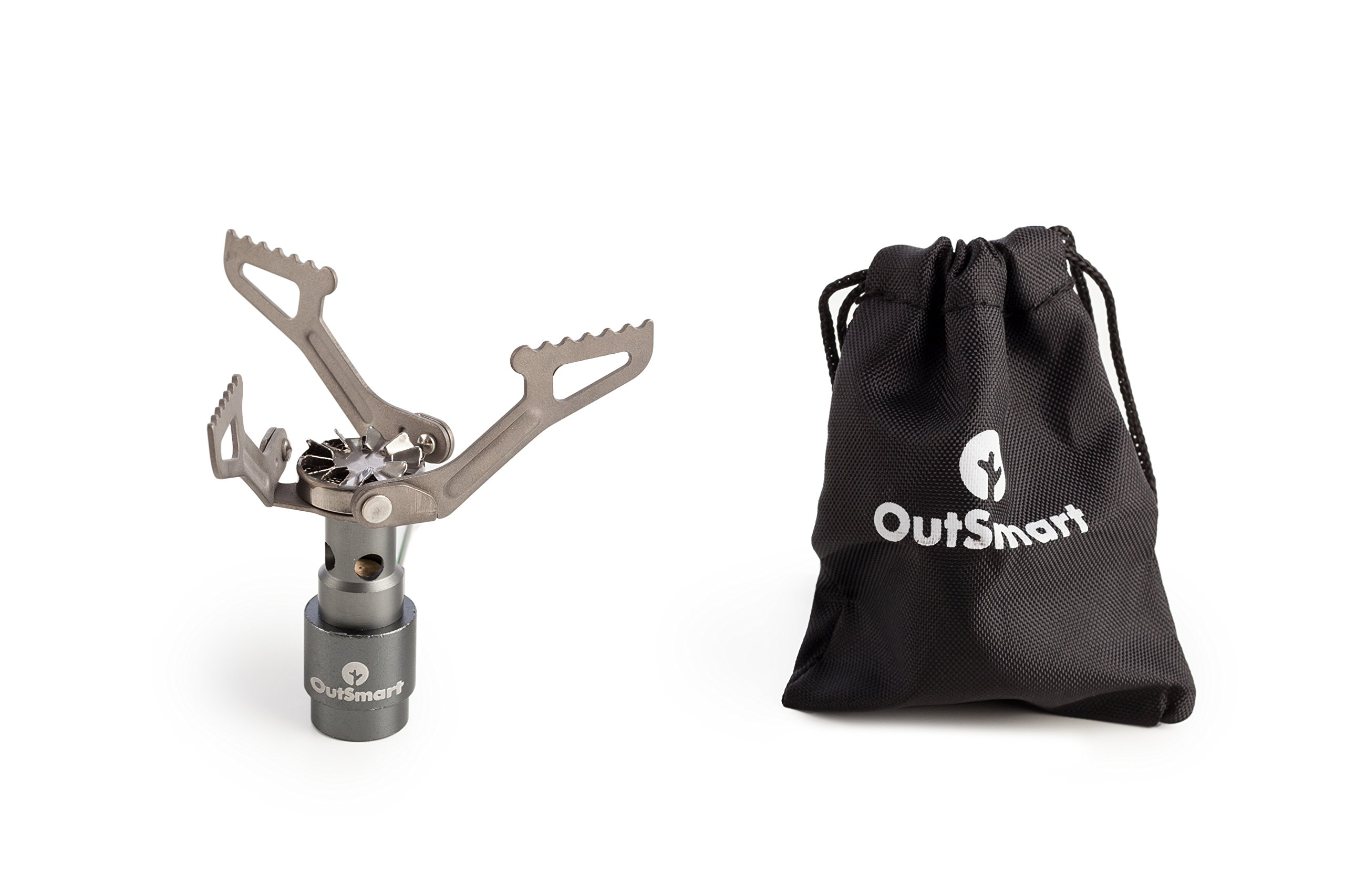 OutSmart Ultralight Titanium Gas Stove | Single Burner Portable Stove for Backpacking, Outdoor Camping and Hiking | Because a House While Traveling Doesn't Come with a Travel Stove by OutSmart
