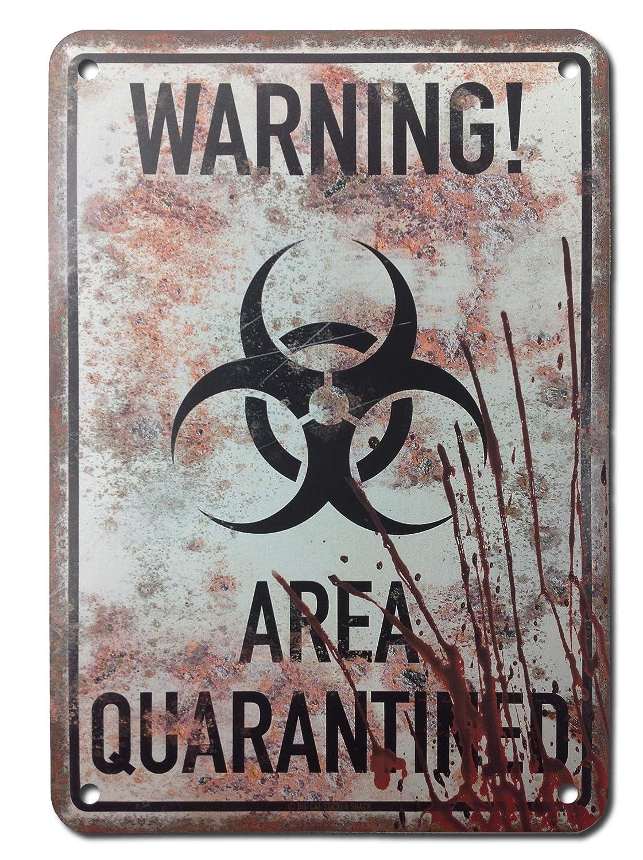 "Warning Area Quarantined - Metal Sign 7""x10"""