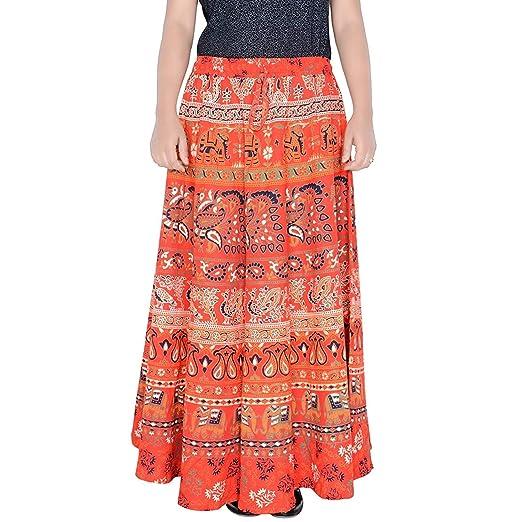 6e04f51267 sunrise paridhan Rajasthani Jaipuri Print Long Wrap Around Skirt for  Women's & Girls 07