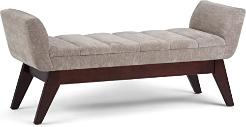 Simpli Home Langdon 56 inch Extra Wide Rectangle Ottoman Bench Dove Grey Footrest Stool, Polyester Fabric for Living Room, Bedroom, Mid Century
