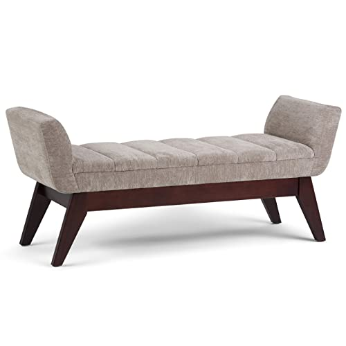 Simpli Home AXCOT-272-DG Langdon 56 inch Wide Mid Century Modern Rectangle Extra Wide Ottoman Bench in Dove Grey Fabric