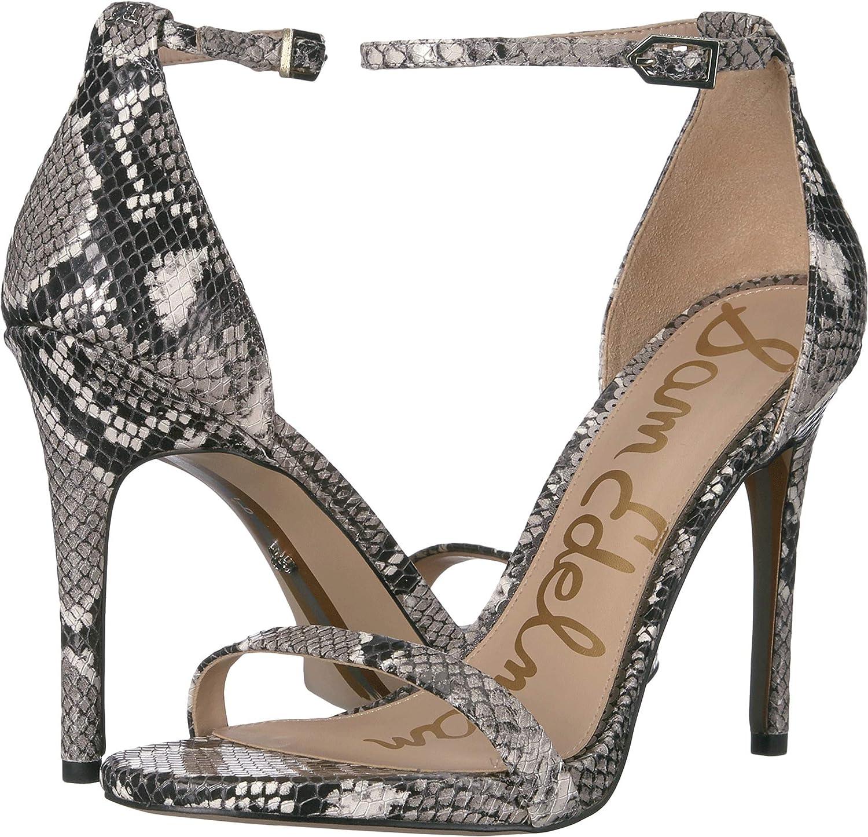 Black White Exotic Snake Print Leather Sam Edelman Womens Ariella Heeled Sandal