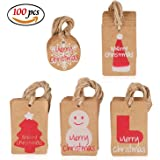 Amaza 100pcs Brown Paper Tags Kraft Christmas Gift Tags with Twine String Smooth for Writing DIY Merry Christmas Gift Xmas Tree Decorations (5 Patterns)
