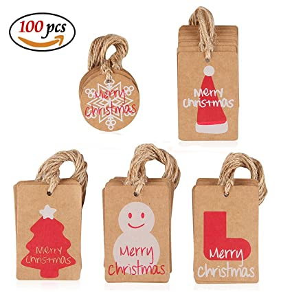 Christmas Gift Tags Diy.Amaza 100pcs Brown Paper Tags Kraft Christmas Gift Tags With Twine String Smooth For Writing Diy Merry Christmas Gift Xmas Tree Decorations 5