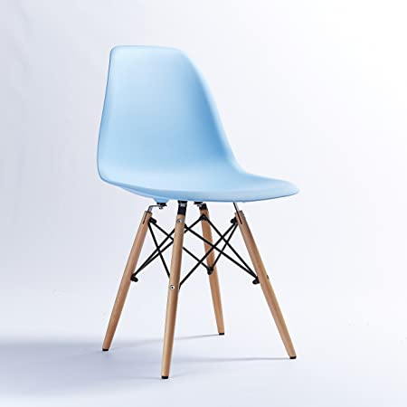Eiffel DSW Wooden Legs Blue Plastic Dining Chair Retro Style Chairs