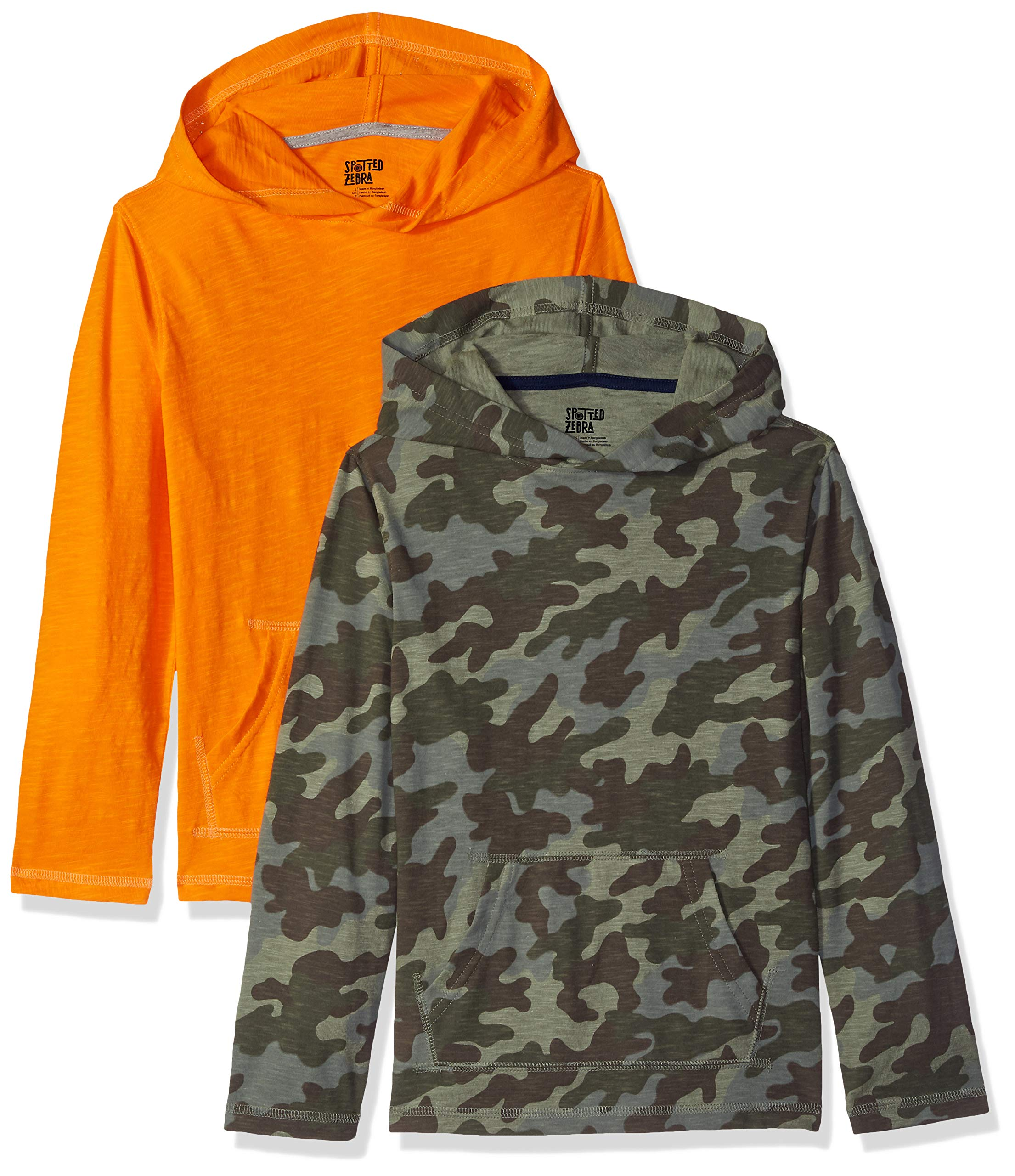 Spotted Zebra Big Boys' 2-Pack Hooded Long-Sleeve T-Shirts, Camo, Medium (8)