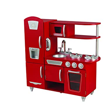 KidKraft Cocina de juguete Vintage de madera: rojo (53173): Amazon ...