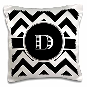 3dRose Black and White Chevron Monogram Initial D-Pillow Case 16 by 16 pc/_222066/_1