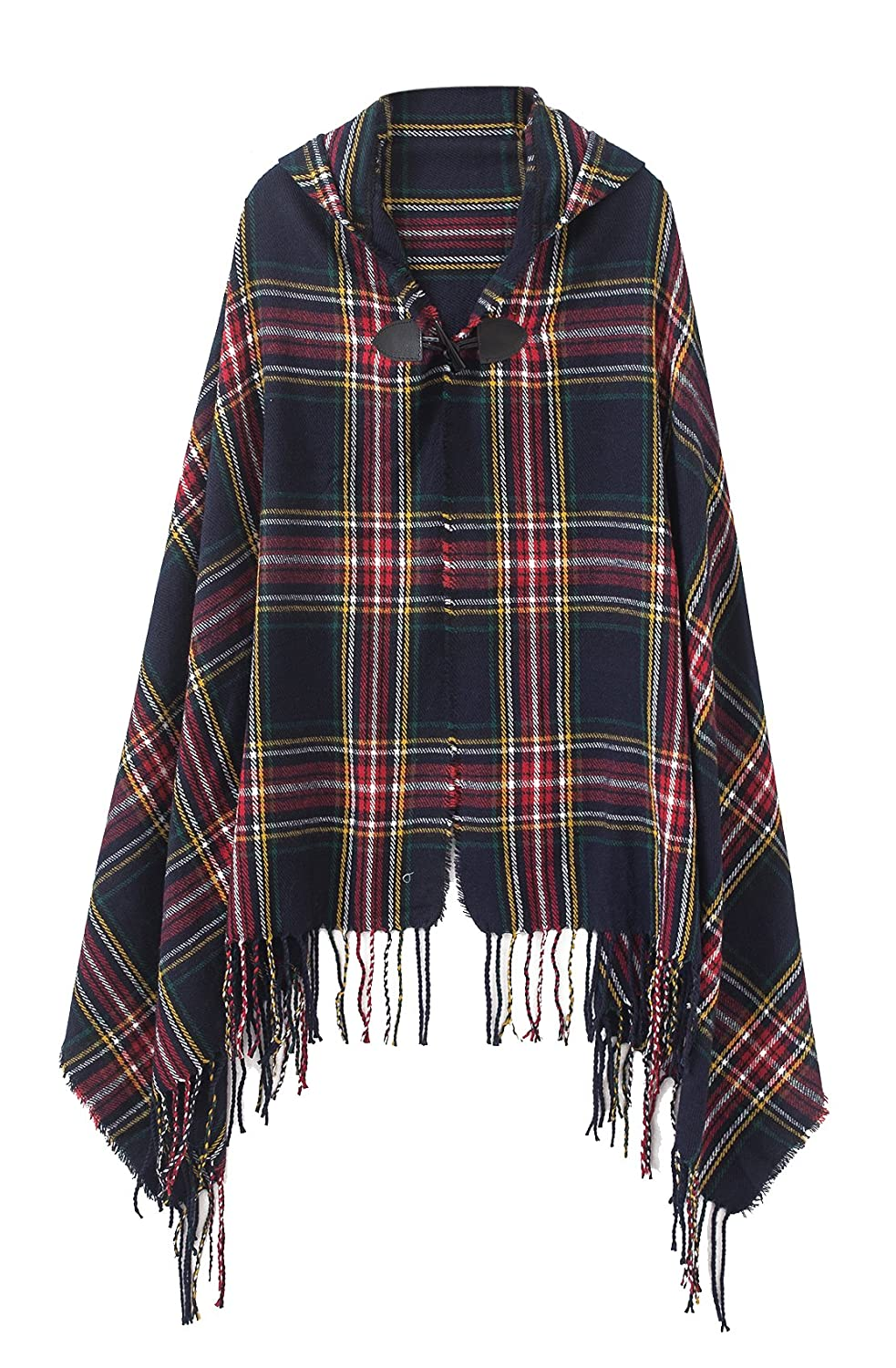 Urban CoCo Women's Vintage Plaid Knitted Tassel Poncho Shawl Cape Button Cardigan (Series 3 Wine Red) Bingo E-Commerce RS16058WR