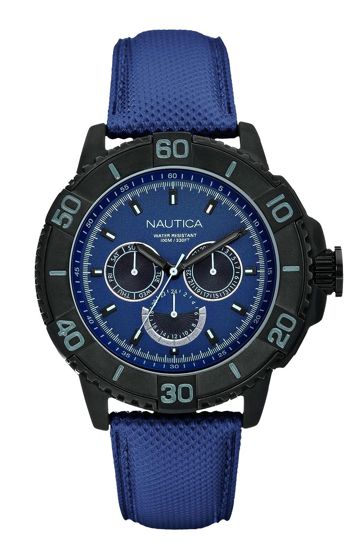 Nautica A18644G - Reloj analógico de Cuarzo para Hombre, Correa de Cuero Color Azul