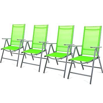 Amazon.de: Nexos 4-er Set Stuhl, Klappstuhl, Gartenstuhl, Hochlehner ...