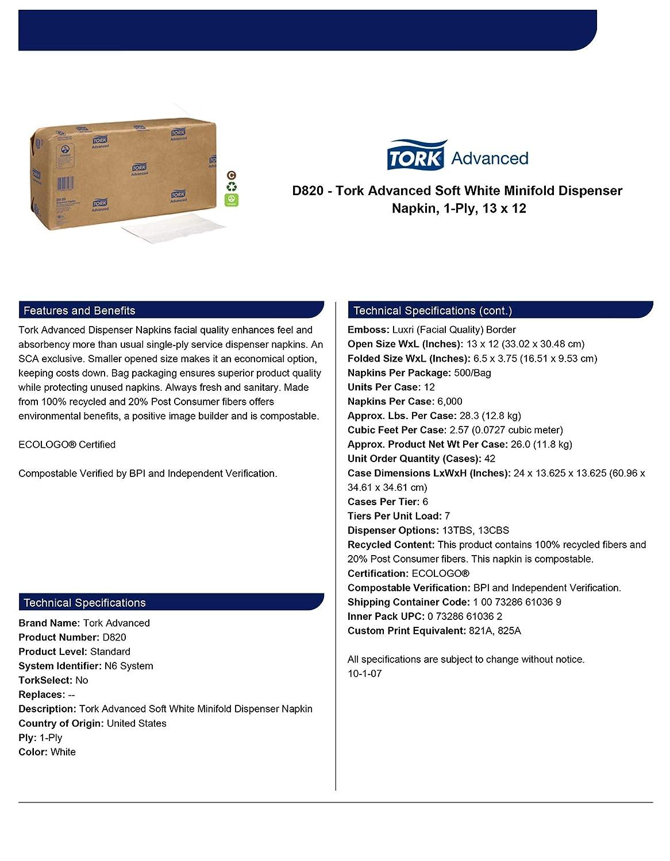 Amazon.com: Tork Advanced Soft D820 Minifold Dispenser Napkin, 1-Ply, 13