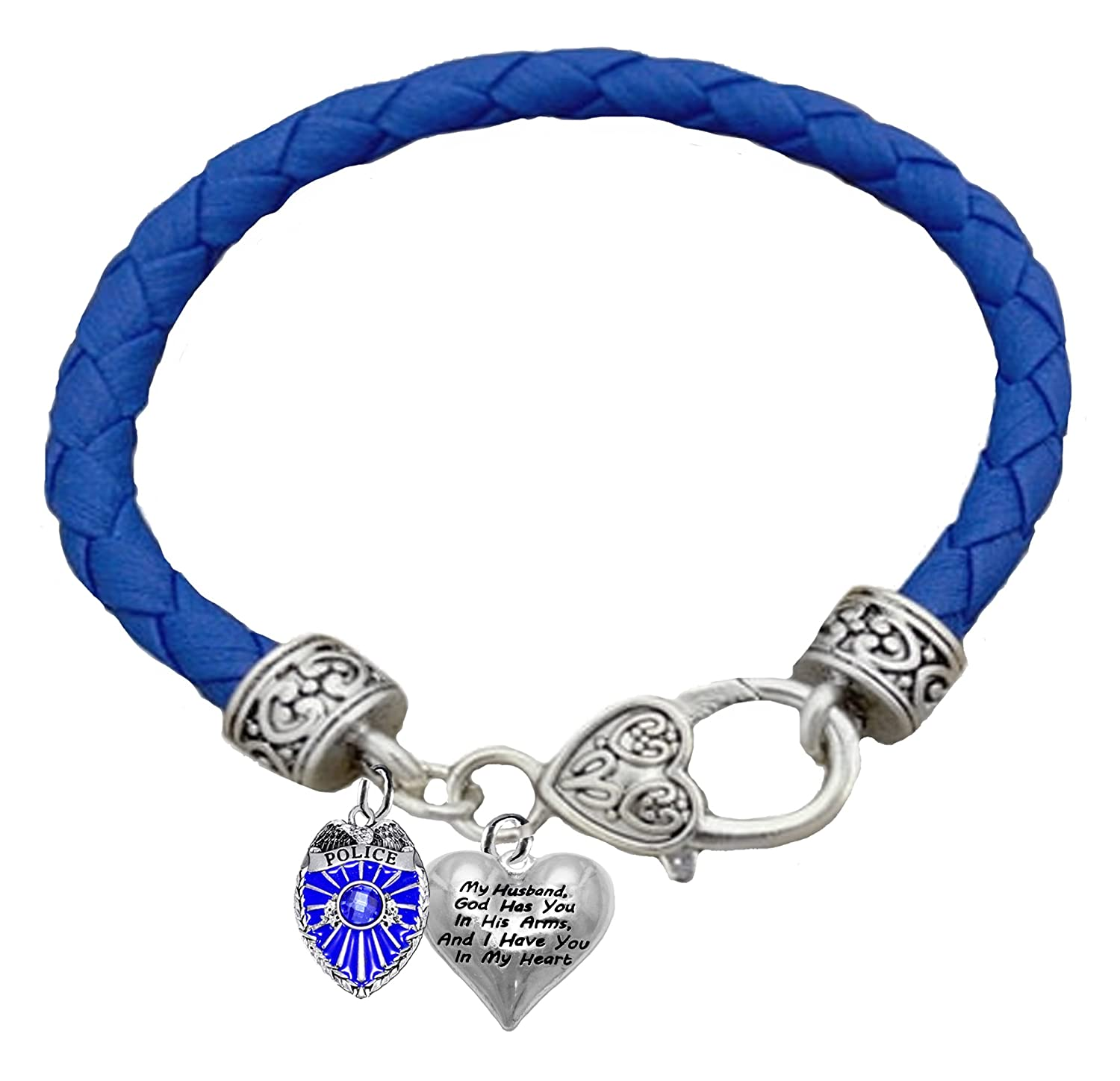 Lead,or Cadmimum My Husband Blue Leather Bracelet God Has You in His Arms Hypoallergenic Safe-No Nickel and I Have You in My Heart Cardinali Jewelry Policeman