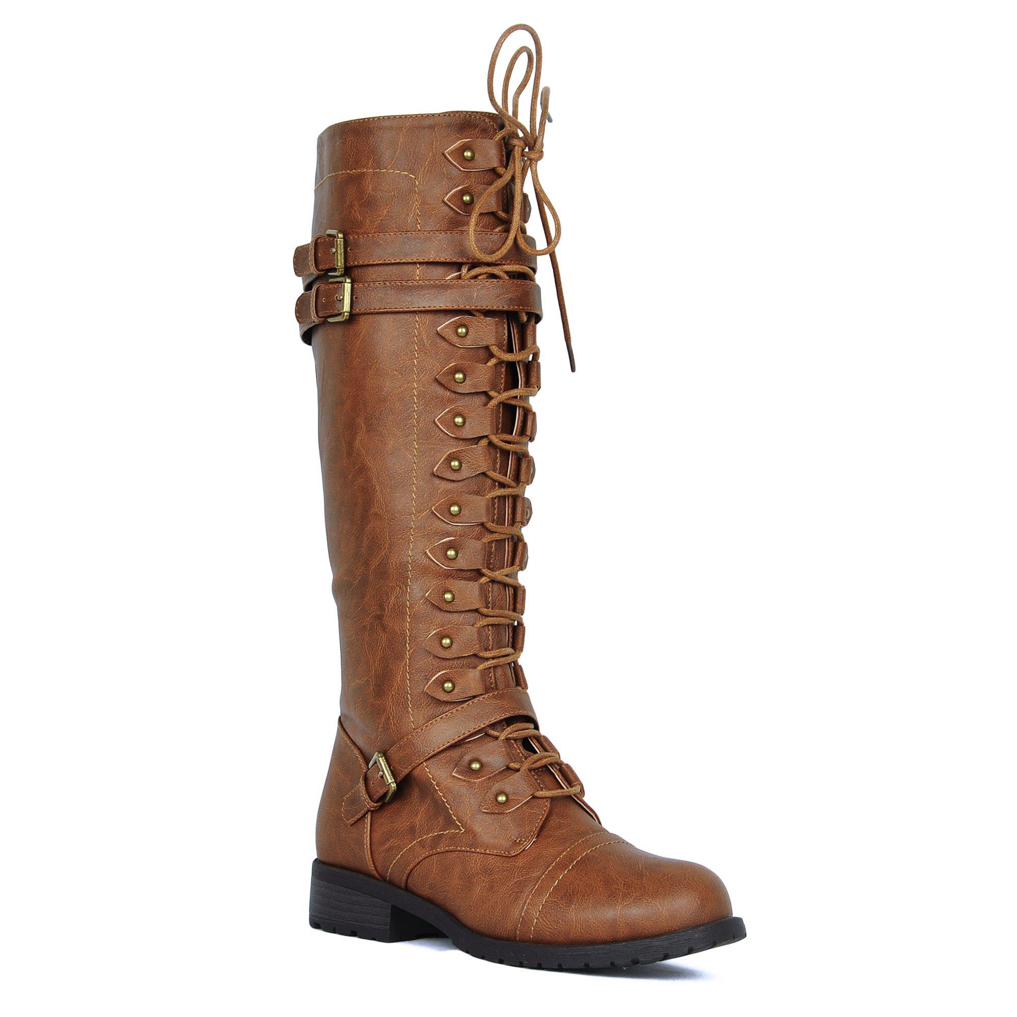 Women's Knee High Riding Boots Lace Up Buckles Winter Combat Boots Tan 7