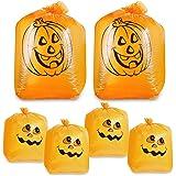 Pack of 6 Pumpkin Leaf Bag - Small and Medium Sized Pumpkin Trash Bags - The Perfect Fall Lawn Decoration, Orange