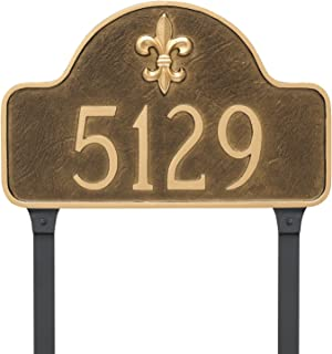 "product image for Montague Metal PCS-0061S1-L-NS 10.5"" x 15.75"" Fleur de Lis Lexington Arch One Line Address Sign Plaque with Lawn Stake, Standard, Navy/Silver"