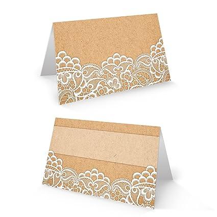 Edle Blanco Beige Crema Vintage Tarjetas de mesa con punta y fuerza aspecto de papel Tarjetas