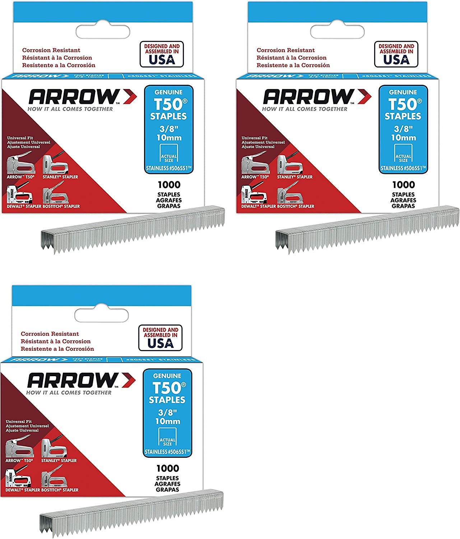 2 Pack 1,000-Pack Arrow Fastener 506SS1 Genuine T50 Stainless Steel 3//8-Inch Staples