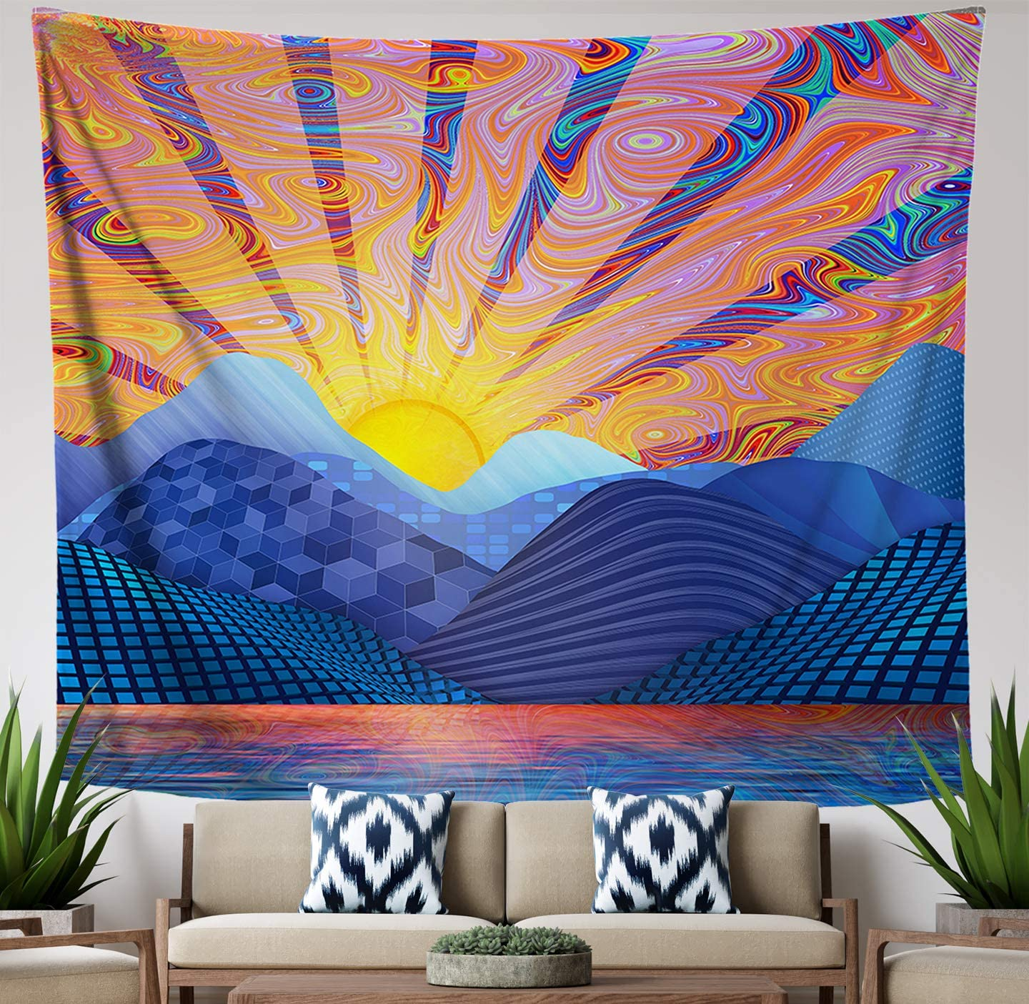 Lucid Eye Psychedelic Sunrise Tapestry, Blue Mountain Trippy Landscape Wall Hanging for Bedroom Living Room Dorm, Large 84×72 inches