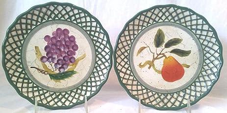 Decorative Raymond Waites Cornucopia Plates Set of 2 Fruit Themed Plates Pear Plate  sc 1 st  Amazon.com & Amazon.com | Decorative Raymond Waites Cornucopia Plates Set of 2 ...