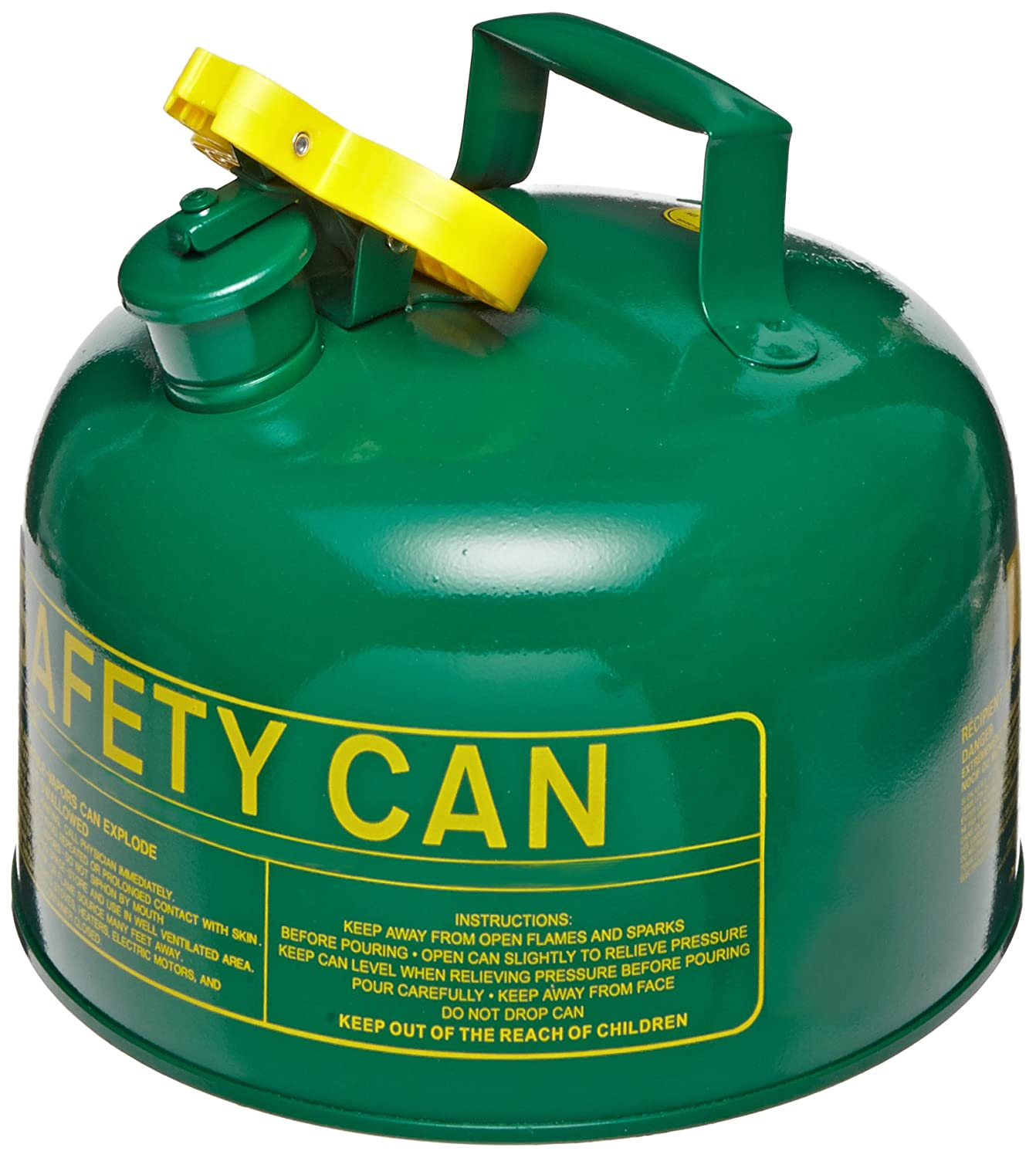 Green 1 Gallon Capacity Combustibles Eagle UI-10-FSG Type I Metal Safety Can with F-15 Funnel 9 Width x 8 Depth