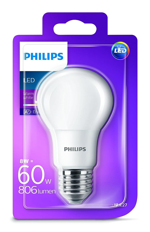 Philips Bombilla Pera E27 LED, 60 W, Cálida, Pack de 1: Amazon.es: Iluminación