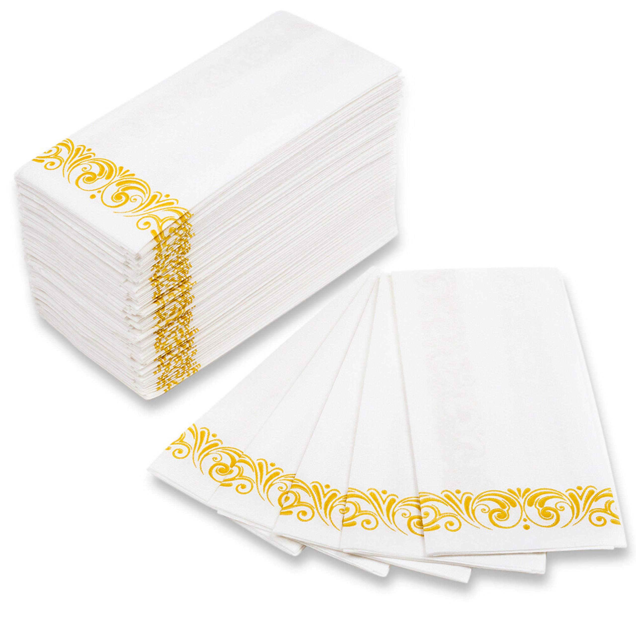 MOCKO Disposable Hand Napkins 17x12'' 100 Pack | Soft & Absorbent Towels With Gold Floral Decoration | Air-Laid Linen Paper | For Wedding, Bathroom Guests, Kitchen, Birthday Parties, Powder Room & More by MOCKO
