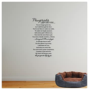 Wall sticker 36x22 pawprints left by you memorial a loving soul i